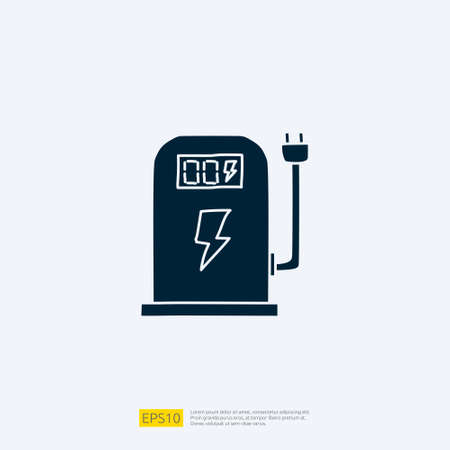 electric terminal station for electrical car vehicle doodle icon. eco green friendly transportation concept on white background vector illustration Imagens - 164185212