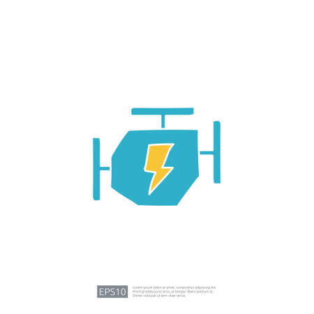 electric engine machine doodle icon. electrical vehicle sign symbol concept vector illustration