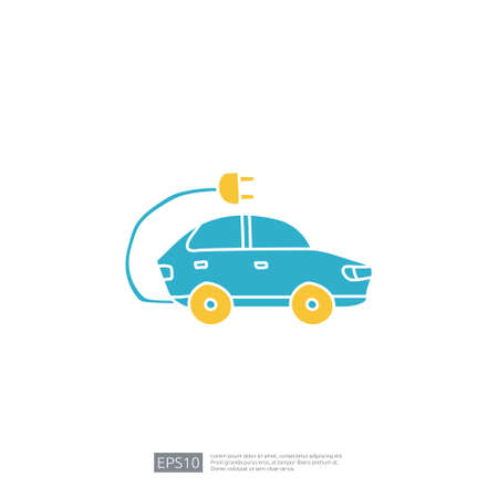 electric car doodle icon sign symbol vehicle concept. eco green friendly transportation on white background vector illustration