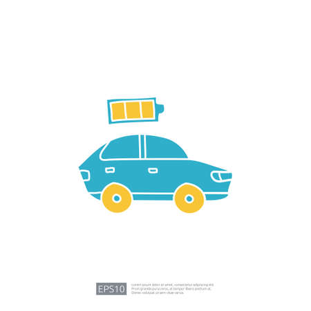 battery level status of electric car. doodle icon sign symbol vehicle concept. eco green friendly transportation on white background vector illustration