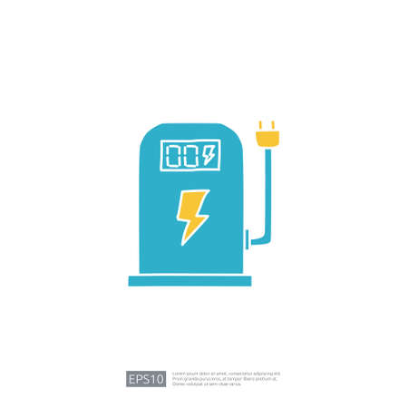 electric terminal station for electrical car vehicle doodle icon. eco green friendly transportation concept on white background vector illustration