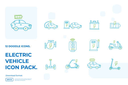 Electric Car doodle icons set. Electrical vehicle charging station service. eco battery energy refueling sign symbols vector illustration