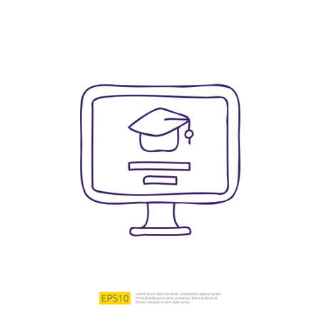 online learning doodle icon for education and back to school concept. e-learning stroke line sign symbol vector illustration