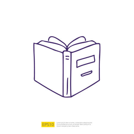book open doodle icon for education and back to school concept. learning stroke line sign symbol vector illustration