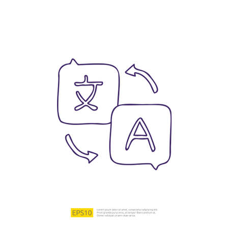 translate doodle icon for education and back to school concept. stroke line sign symbol vector illustration