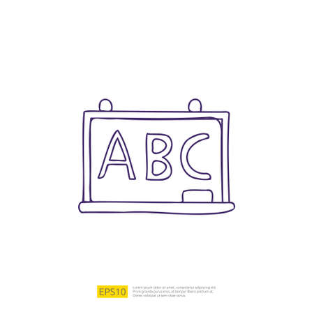 ABC Alphabet on chalkboard doodle icon for education and back to school concept. stroke line sign symbol vector illustration 矢量图像