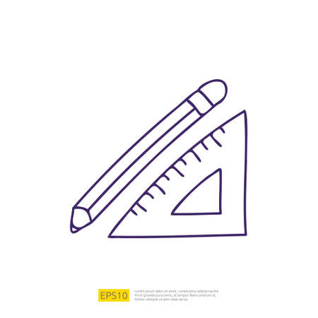 pencil and triangle ruler doodle icon for education and back to school concept. stroke line sign symbol vector illustration