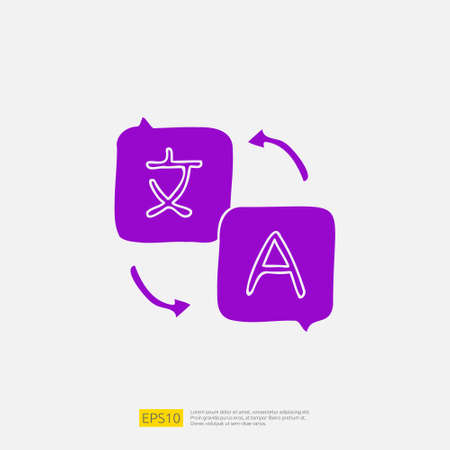 translate doodle icon for education and back to school concept. Solid glyph sign symbol vector illustration