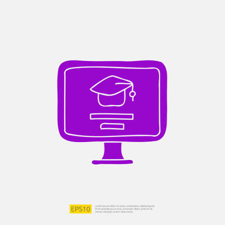 online learning doodle icon for education and back to school concept. e-learning Solid glyph sign symbol vector illustration 矢量图像
