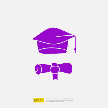 graduating hat doodle icon for education and back to school concept. Solid glyph sign symbol vector illustration 矢量图像