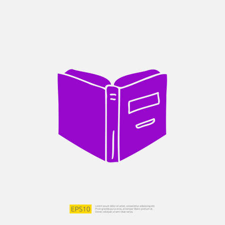 book open doodle icon for education and back to school concept. learning Solid glyph sign symbol vector illustration 矢量图像