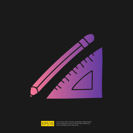 pencil and triangle ruler doodle icon for education and back to school concept. Gradient glyph sign symbol vector illustration 矢量图像