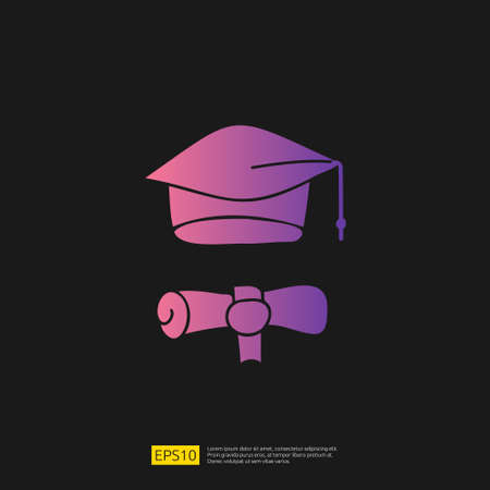 graduating hat doodle icon for education and back to school concept. Gradient glyph sign symbol vector illustration