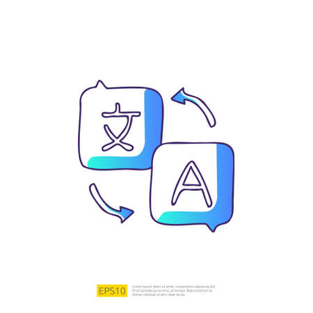 translate doodle icon for education and back to school concept. Gradient fill line sign symbol vector illustration