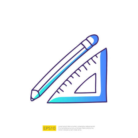 pencil and triangle ruler doodle icon for education and back to school concept. Gradient fill line sign symbol vector illustration