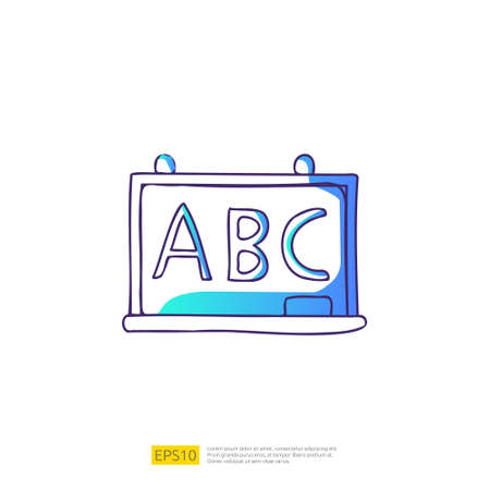 ABC Alphabet on chalkboard doodle icon for education and back to school concept. Gradient fill line sign symbol vector illustration