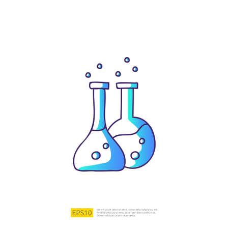 chemical bottle doodle icon for education and back to school concept. Gradient fill line sign symbol vector illustration 矢量图像