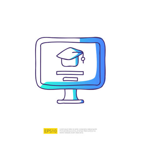 online learning doodle icon for education and back to school concept. e-learning Gradient fill line sign symbol vector illustration 矢量图像