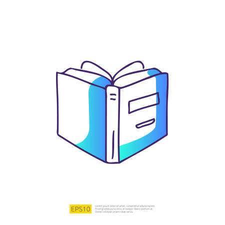 book open doodle icon for education and back to school concept. learning Gradient fill line sign symbol vector illustration