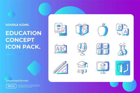 education and back to school concept icon. learning and training class doodle sign symbol. Gradient fill line sign symbol vector illustration