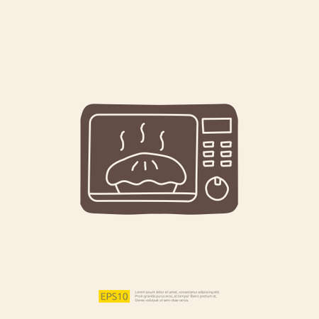 oven or microwave doodle icon for cooking concept. Solid glyph sign symbol vector illustration 矢量图像