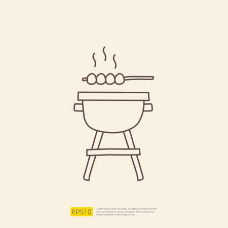 bbq grill doodle icon for cooking concept. stroke line sign symbol vector illustration