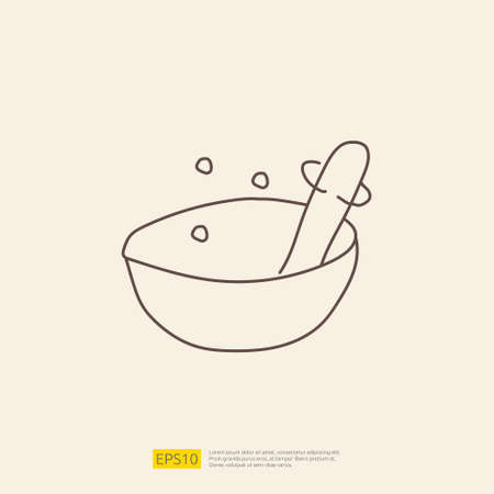 mortar and pestle doodle icon for cooking concept. stroke line sign symbol vector illustration 矢量图像