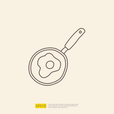 cooking pan doodle icon for cooking concept. stroke line sign symbol vector illustration