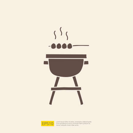 bbq grill doodle icon for cooking concept. Solid glyph sign symbol vector illustration