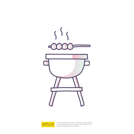 bbq grill doodle icon for cooking concept. Gradient fill line sign symbol vector illustration