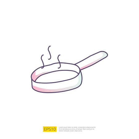 cooking pan doodle icon for cooking concept. Gradient fill line sign symbol vector illustration 矢量图像