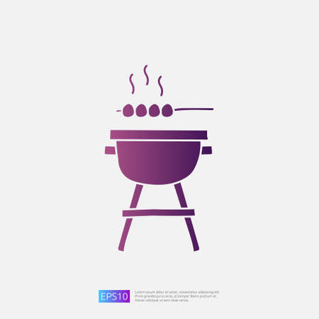 bbq grill doodle icon for cooking concept. Gradient glyph sign symbol vector illustration