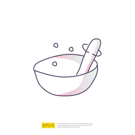 mortar and pestle doodle icon for cooking concept. Gradient fill line sign symbol vector illustration