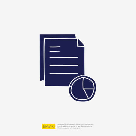 data report and presentation concept doodle glyph icon with graphic chart document. Statistics science technology, digital marketing and machine learning related for business strategy illustration