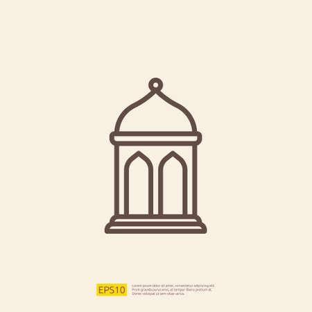 lantern line icon for Muslim and Ramadan theme concept. Vector illustration