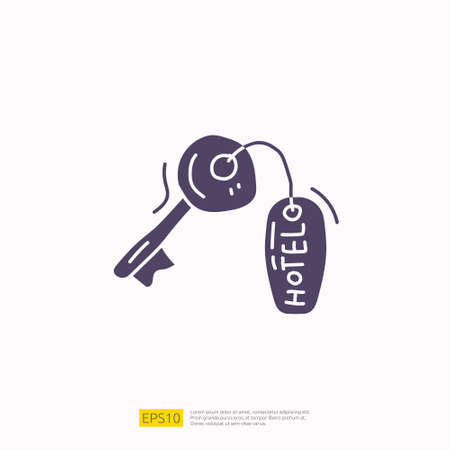 travel holiday tour and vacancy concept vector illustration. hotel key lock doodle silhouette glyph icon sign symbol