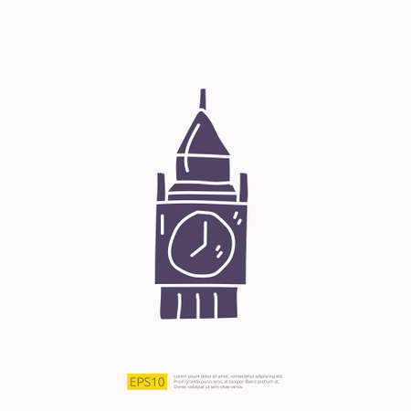 travel holiday tour and vacancy concept vector illustration. big ben london landmark doodle silhouette glyph icon sign symbol Çizim