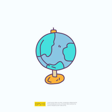 travel holiday tour and vacancy concept vector illustration. earth globe doodle fill color icon sign symbol