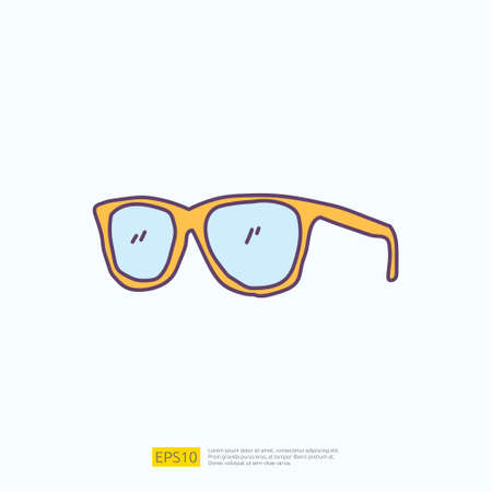 travel holiday tour and vacancy concept vector illustration. sunglasses doodle fill color icon sign symbol