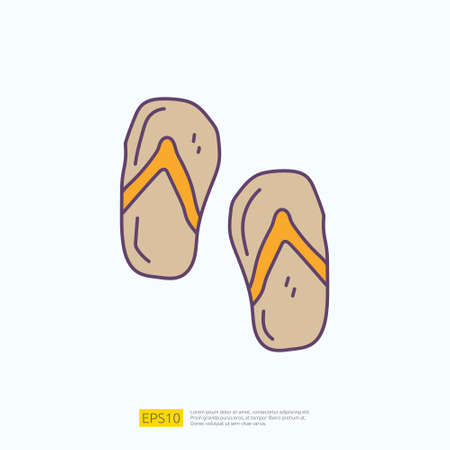 travel holiday tour and vacancy concept vector illustration. flip flop sandal doodle fill color icon sign symbol Çizim