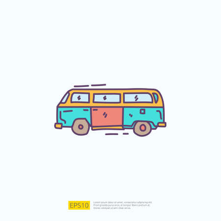 travel holiday tour and vacancy concept vector illustration. hippie van doodle fill color icon sign symbol