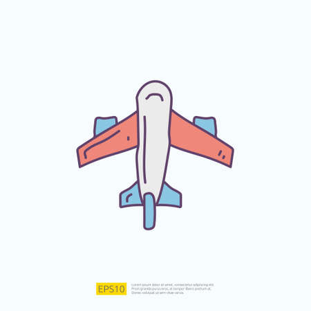 travel holiday tour and vacancy concept vector illustration. airplane doodle fill color icon sign symbol