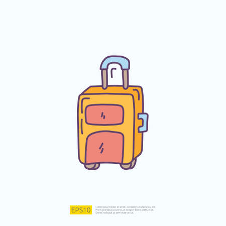 travel holiday tour and vacancy concept vector illustration. suitcase doodle fill color icon sign symbol