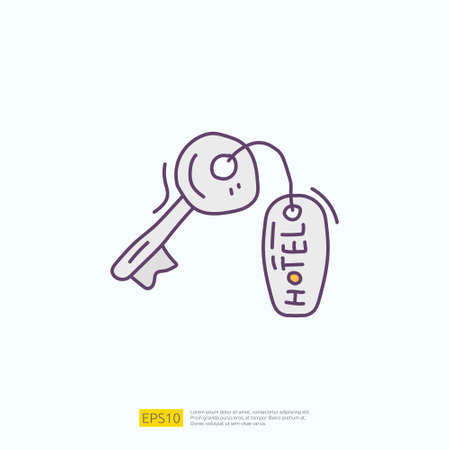 travel holiday tour and vacancy concept vector illustration. hotel key lock doodle fill color icon sign symbol Çizim