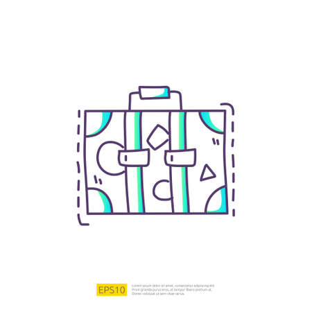 travel holiday tour and vacancy concept vector illustration. suitcase doodle gradient fill line icon sign symbol