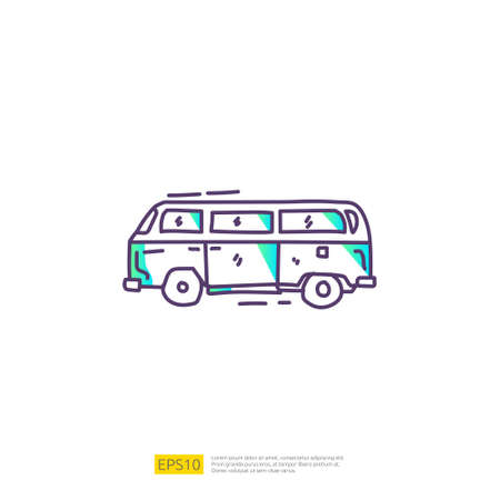travel holiday tour and vacancy concept vector illustration. hippie van doodle gradient fill line icon sign symbol