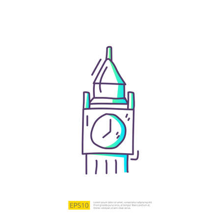 travel holiday tour and vacancy concept vector illustration. big ben london landmark doodle gradient fill line icon sign symbol