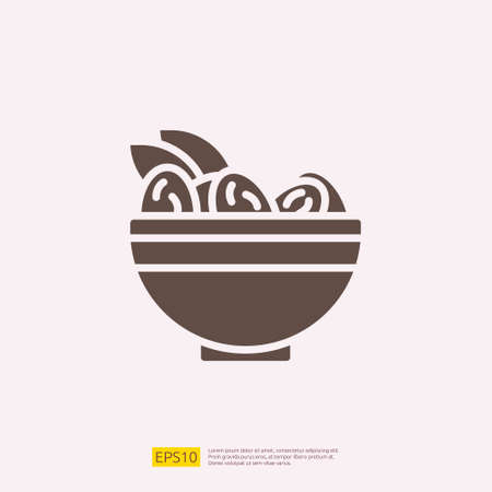 dates meal iftar silhouette glyph solid icon for Muslim and Ramadan theme concept. Vector illustration