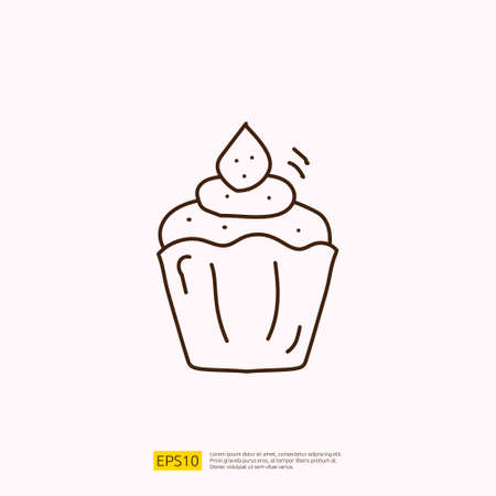 cupcake for cafe concept vector illustration. hand drawing doodle linear icon sign symbol