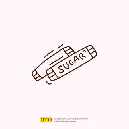 sugar sachet for cafe concept vector illustration. hand drawing doodle linear icon sign symbol